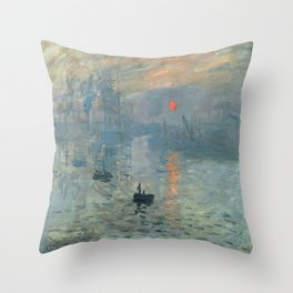 Claude Monet – Impression soleil levant – impression sunrise Throw Pillow
