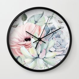 Pretty Succulents on Marble by Nature Magick Wall Clock