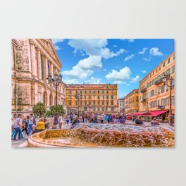 People in Nice Plaza with Fountain Canvas Print