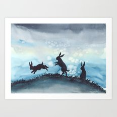 Blue Bunnies Art Print