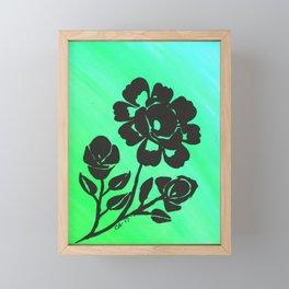 Green Silhouette Roses Varigated Background Acrylic Art Framed Mini Art Print