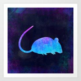 RAT IN SPACE // Animal Graphic Art // Watercolor Canvas Painting // Modern Minimal Cute Art Print