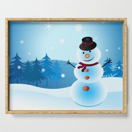 Christmas Snowman Serving Tray