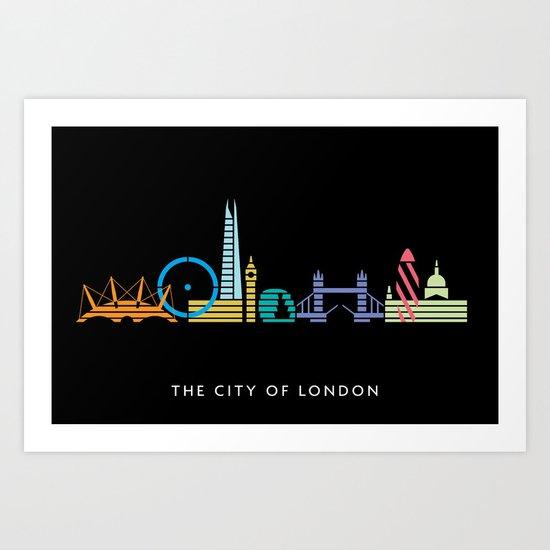 London Skyline Black Art Print