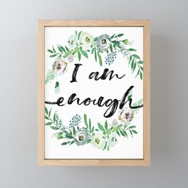 I am Enough Rustic Floral Wreath Framed Mini Art Print