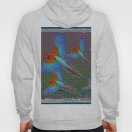 SHABBY CHIC BLUE MACAWS FLIGHT Hoody