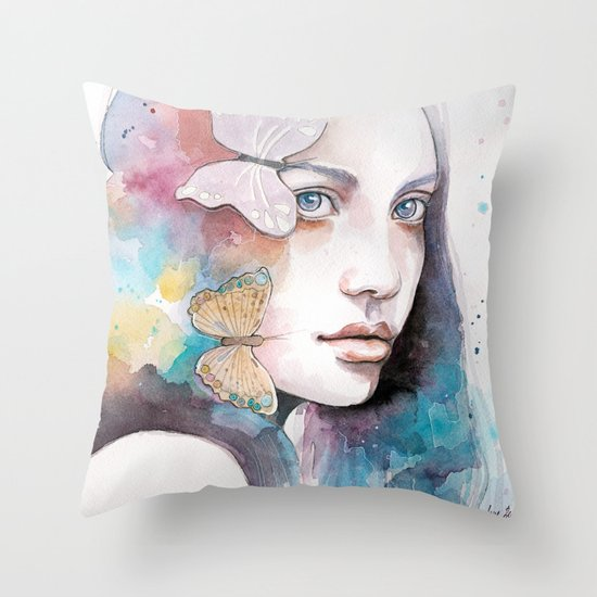 Lady with a butterfly Throw Pillow