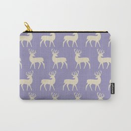 Mid Century Modern Deer Pattern Lavender and Tan Carry-All Pouch