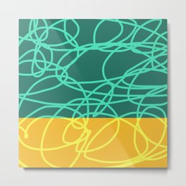 Chaos Lines On Green Yellow Horizon Minimal Abstract Art Deneb Metal Print