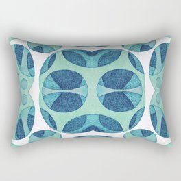 Circle web of connectiveness pattern in mint & navy Rectangular Pillow