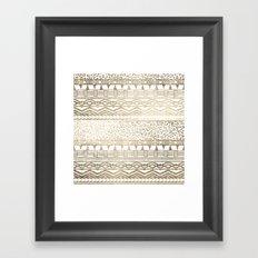Modern faux gold foil aztec leopard pattern Framed Art Print
