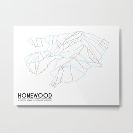 Homewood Ski Resort, CA - Minimalist Trail Art Metal Print