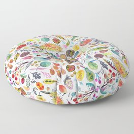 Colorful Whimsical Watercolor Fruits Veggies White Pattern Floor Pillow