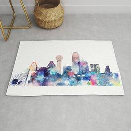 Blue Watercolor Dallas skyline design Rug