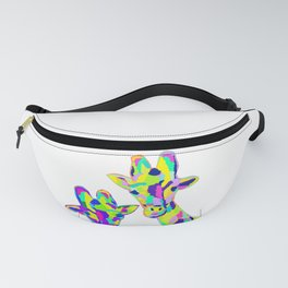 Abstract Cute Giraffe with Neon Colorful Spots Fanny Pack