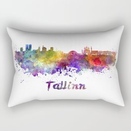 Tallinn skyline in watercolor Rectangular Pillow