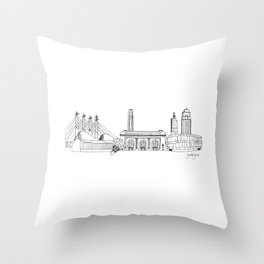 Kansas City Skyline Illustration Black Line Art Throw Pillow