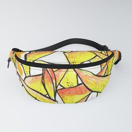 Heliconia Rostrata / Lobster Claw, yellow, orange  & white, Fanny Pack