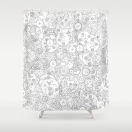 Clockwork B&W / Cogs and clockwork parts lineart pattern Shower Curtain