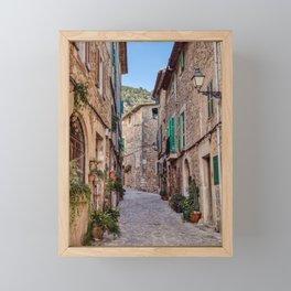 Narrow street in Valldemossa village - Mallorca, Spain Framed Mini Art Print