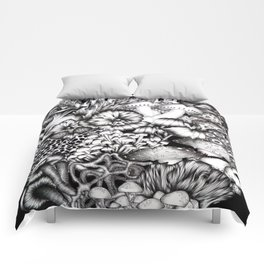 Midnight Mushrooms Comforters