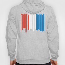 Red White And Blue Fort Lauderdale Florida Skyline Hoody