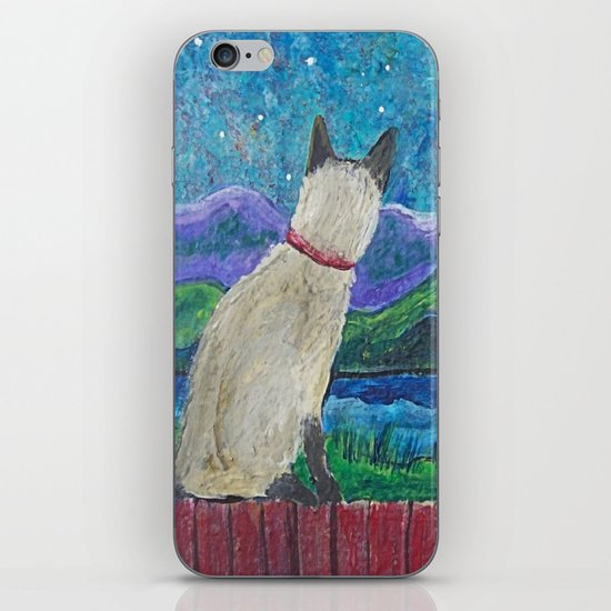 Siamese Cat in the Moonlight iPhone & iPod Skin