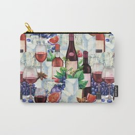 Watercolor wine glasses and bottles decorated with delicious food Carry-All Pouch