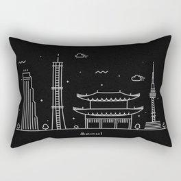 Seoul Minimal Nightscape / Skyline Drawing Rectangular Pillow