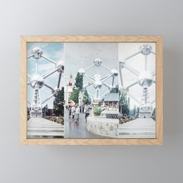 Brussels Atomium Photo Collage Framed Mini Art Print