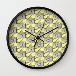 Camera doodle pattern Wall Clock