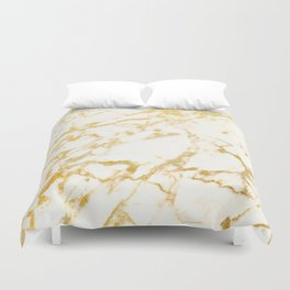 Ivory White Marble With Gold Glitter Ribboned Veins Duvet Cover