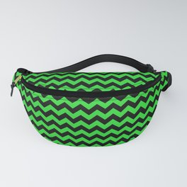 Dark Black and Bright Monster Green Halloween Chevron Stripes Fanny Pack