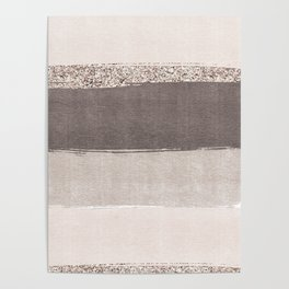 Blush tones watercolor ombre gold glitter brushstrokes Poster