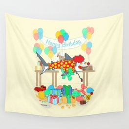 The Birthday Party Clown Shark Wall Tapestry