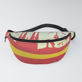 Spain Element on Flag with sky background Fanny Pack