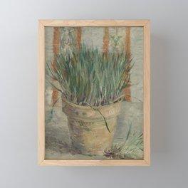 Flowerpot with Garlic Chives Framed Mini Art Print