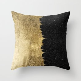 Faux Gold and Black Starry Night Brushstrokes Throw Pillow