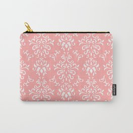 White And Coral Vintage Damask Pattern - Mix & Match with Simplicity of Life Carry-All Pouch