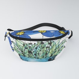 Seven Flowers (Blue): cheery original art in a loose style, simple flowers in a turquoise pot Fanny Pack