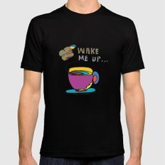 coffee first Black Mens Fitted Tee MEDIUM