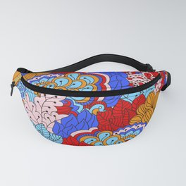 Abstract Flower Mixed Bright Blue & Red Fanny Pack