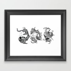 Inking Flamingo Elephant Deer Framed Art Print