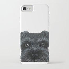 Black Schnauzer, Dog illustration original painting print iPhone Case