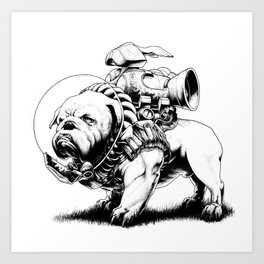 Jetpack Dog | Bulldog Art Print
