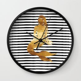 Mermaid & Stripes - Black Wall Clock