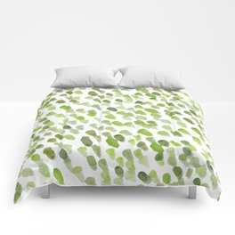 Imperfect brush strokes - olive green Comforters