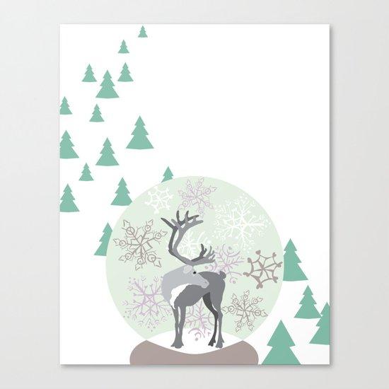 Reindeer Snowglobe Canvas Print