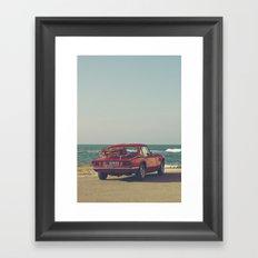 Red Supercar, classic car, triumph, spitfire, color photo, interior design, old car, auto Framed Art Print