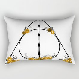 Deathly Hallows in Gold and Gray Rectangular Pillow